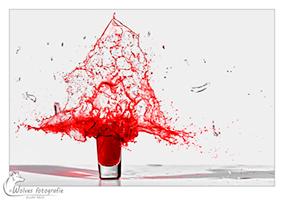 Kapot geschoten glas met gekleurd water - high speed fotografie - Door: Ellen Reus - Wolves fotografie